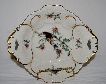 EBERTHAL Bavaria W. Germany Bird Thistle bowl with gold trim