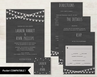 Pocket Wedding Invitation Set, Printable Wedding Invitation Template, DIY Wedding Invite, Instant Download, Edison, Chalkboard #SPP006wip