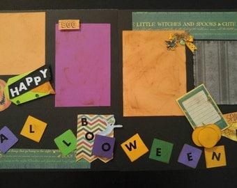 Premade Halloween layout, halloween scrapbook layout, 12×12 layout, cute halloween scrapbook pages, 12×12 pages, handcrafted embellishments,