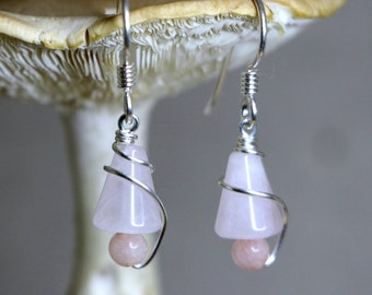 Twisted Wire Wrapped Rose Quartz Earrings CLTWE3