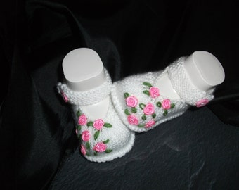 knitted baby shoes, baby shoes, baby socks, Babybooties * festive... *.
