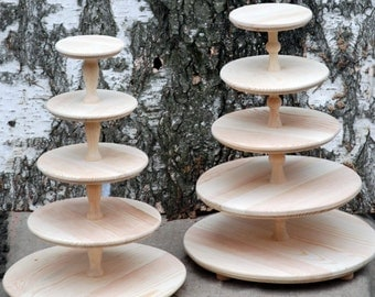 5 Five tiered wooden wedding cake stand,  cupcake stand, cake pedestal, stand for cupcakes, wooden stand, stand for a wedding, handmade