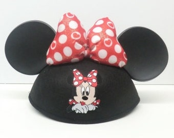 Personalized Minnie Mouse Ear Hat with Heart Dot Bow