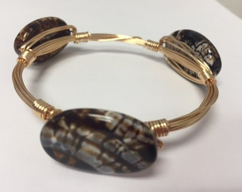 Wire Wrapped Beaded Bracelet--Brown Jungle