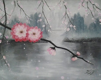 Japanese Sakura Beautiful Pink Cherry Blossom Wall Decor Original Painting *Sakura Blossom*