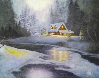 Original Fantasy Oil Painting Winter Landscape Cold Snowy Winter Night *Winter Wonderland*