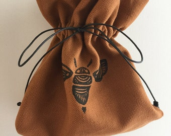 Block printed repurposed linen drawstring gift bag - bumblebee design