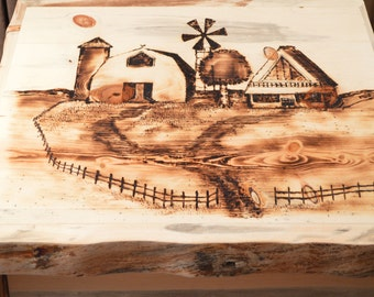 Blanket Box Coffee Table w/Slide Top Barn Scene Hand Burned Pine Trim