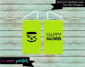 Printable Halloween Monster Frankenstein Juice Box Wrappers Party Favors Favor Labels Digital File Instant Download