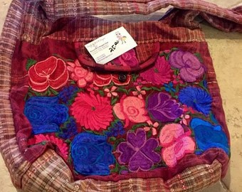 Mexican Oaxaca Embroidery Over the Shoulder Purse Bag