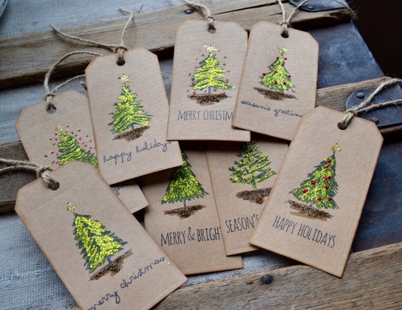 Scribbly Trees Christmas Tags