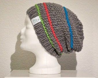 Beanie Hat Grau Weiß with stripes in MOSS hanging knitted (variants)