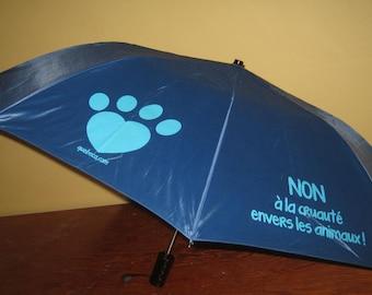 Blue umbrella, NO to animal cruelty