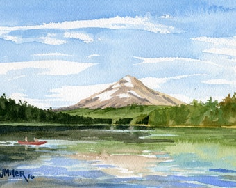 "8x10"" Mt. Hood Oregon Art Print - Trillium Lake watercolor painting, canoe, mountain, Mt. Hood painting, Pacific Northwest artwork"