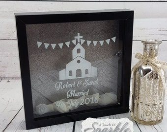 Personalised Wedding Memento Box Frame - Chapel & Bunting Design