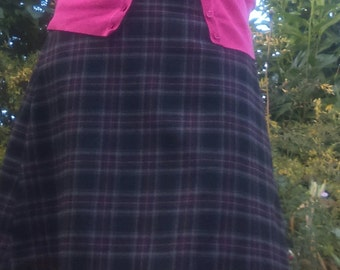 Tartan A Line Skirt in grey and red -  'MIDNIGHT SLATE'