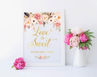 INSTANT DOWNLOAD, Love is sweet banner, Love is Sweet Sign, Pink and Gold Shower, Love is Sweet Take a Treat Sign - US_BO0101