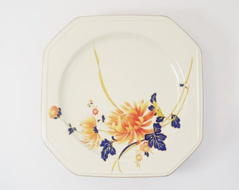 Vintage Mikasa dinner plate set- Continental Ivory-F 4005 Majestic-1980's-Flower motif-4 piece place setting