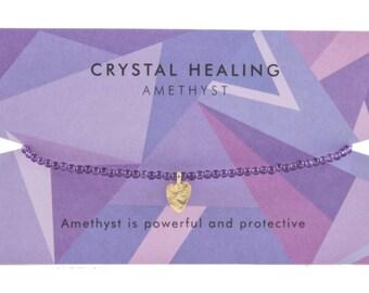 Amethyst Crystal Healing Charm Bracelet