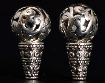10sets-Guru beads loose beads,Buddhist Meditation Mala beads,antique silver, mantras amulet ,lotus desgin ET3464