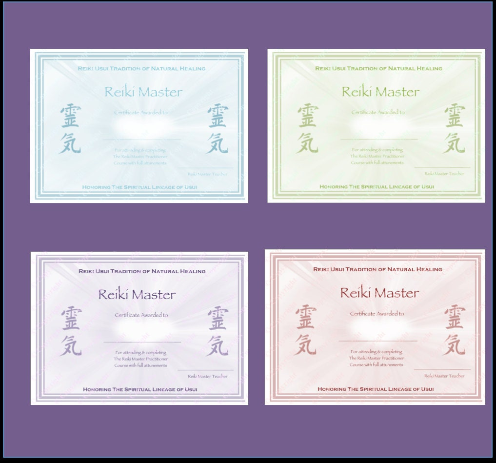 Download complete set reiki certificate templates x4 zoom xflitez Choice Image