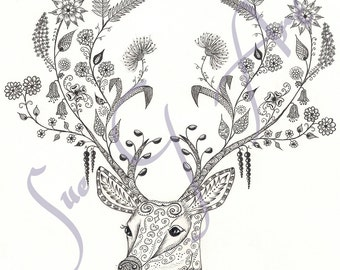 Flora and Fauna Stag Zentangle Art Print