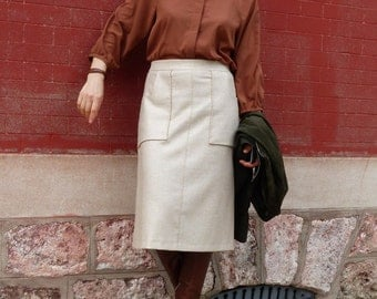 A-line, wool, winter skirt, skirt m-long, Haute Couture, size 38-40, doubled fabric, trend