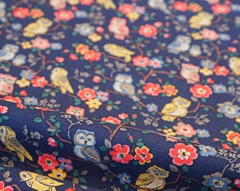 Cotton Duck Canvas Vintage Cath Kidston Fabric Pink Yellow Blue Owls Navy Blue Per Half Meter