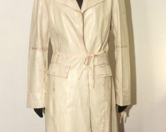 A leather Trench-coat/Angela Apples Milan-Real leather coat size 44 EN