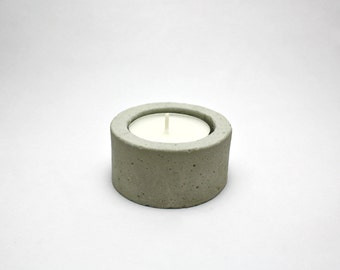 Concrete TeaLight Candle Holder - Gray Cement - cylinder