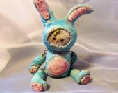 Polymer Clay Art Doll -Handmade Art Doll - Hinged Doll in Bunny Costume - Primitive Blue Bunny Art Doll - Pastel Easter figurine