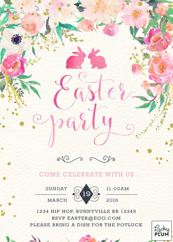 Easter Invitation / Easter Brunch Invite / Flower Invite / Bunny ...