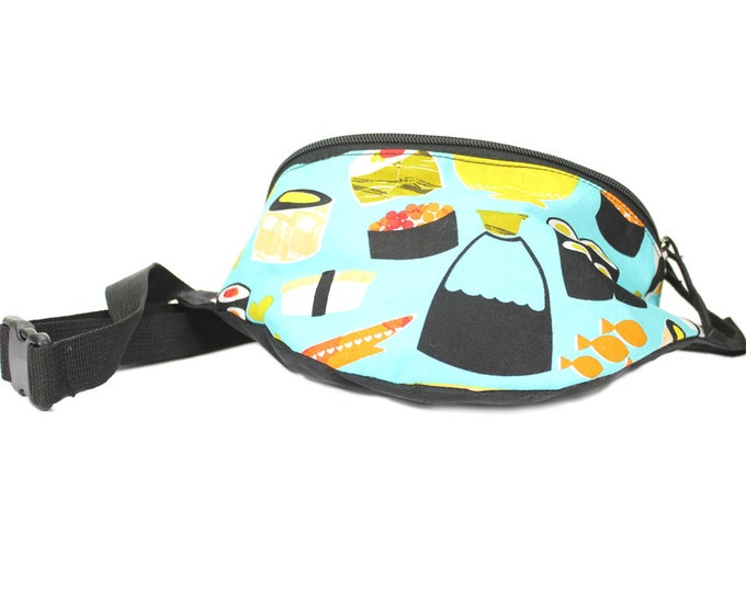 Fanny pack Blue Sushi fabric  - Waist pack, stylish and lightweight it's the perfect travel accessory