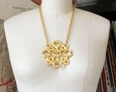 vintage brutalist circle necklace . mandala necklace . large boho statement necklace . aztec or mayan sun necklace . xl pendant necklace