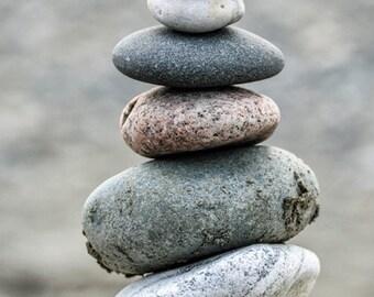Balancing Stacked Rocks Cairn, Canvas Gallery Wrap, Washington State Beach Photograph, Large Wall Art