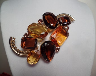 Large Brooch with Autumn Colors Signed Marvella