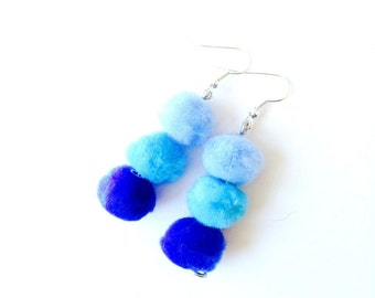 Earrings POMPOMPIDOU -- furballs, ombre turquoise, blue, by The Sausage