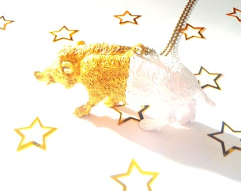 Necklace THE HALF BOAR -- Animal, half white, half gold, handpainted by The Sausage