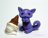 OOAK Purple Micro Dragon who dropped his ice cream cone by Amber Matthies