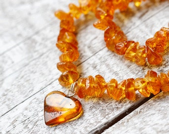 Amber Heart Necklace | Baby Heart Necklace | Amber Necklace Baby Girl | Amber Bead Baby Necklace
