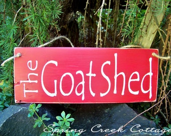 Wood Signs, The Goat Shed, Hand-painted, Goat Signs, Reclaimed, Rustic, Farmhouse Decor, Country Farm,