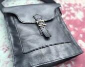 Leather Handstitched Lined Handbag Purse- Danica - Pearlized Blue