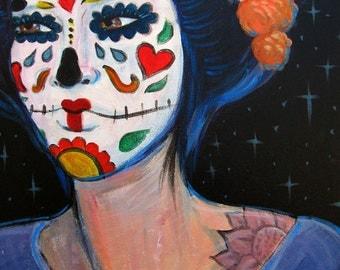 Geisha Muerta Painting Print