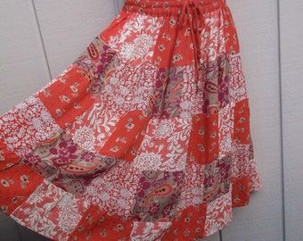 Vintage 90s - Coral Pink and Red Mismatch Patchwork India Crinkle Broomstick skirt / country gypsy festival boho