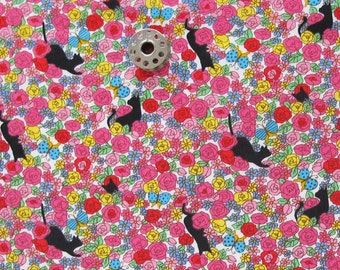 FAT QUARTER Floral Cat Print Fabric   Sweets Forest Project by Cotton Quilting Cotton Sewing Fabric