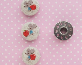 Fabric Covered Buttons 3/4 Inch | 3 Small Mouse Print Fabric Buttons