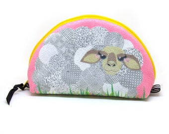Notions Bag, Sheep Zipper Pouch, Bright Pink