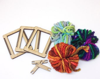 Mini Weaving Loom Kit - SET OF THREE, Make Your Own, Ornament or Brooch