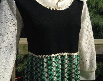 Vintage Green Argyle Maxi Dress Gown
