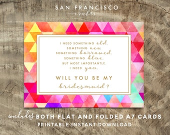 Will you be my BRIDESMAID Card |  Size A7 or 5x7, Flat and Folded Card, Watercolor | Modern Collection | Printable PDF, Instant Download